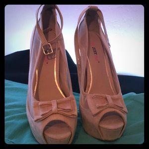 Nude Peeptoe Bow heels